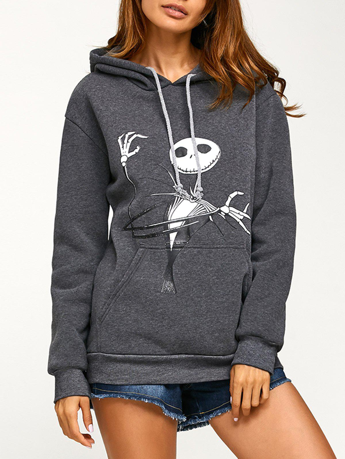 Drawstring Halloween Ghost Print Hoodie - DEEP GRAY L