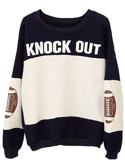 Football Patched Panelled SweatshirtWomen<br><br><br>Size: ONE SIZE<br>Color: BLACK