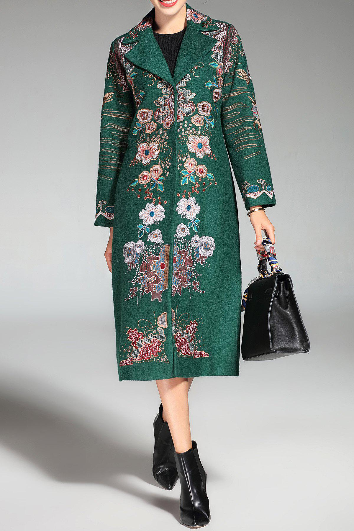 Lapel Single Breasted Embroidered Coat - GREEN 3XL