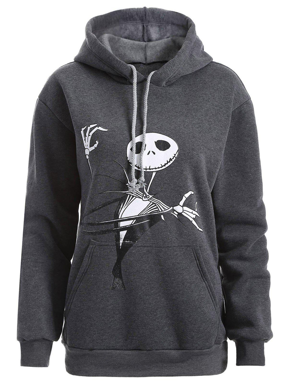 Plus Size Halloween Ghost Print Graphic Hoodie - DEEP GRAY XL