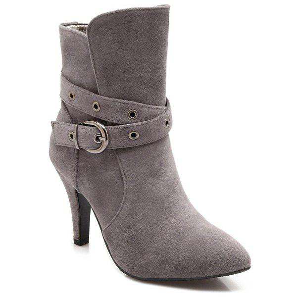 Belt Buckle Cross Straps Eyelets Short Boots - GRAY 37