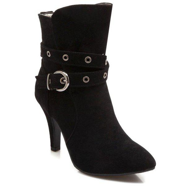 Belt Buckle Cross Straps Eyelets Short Boots - BLACK 38