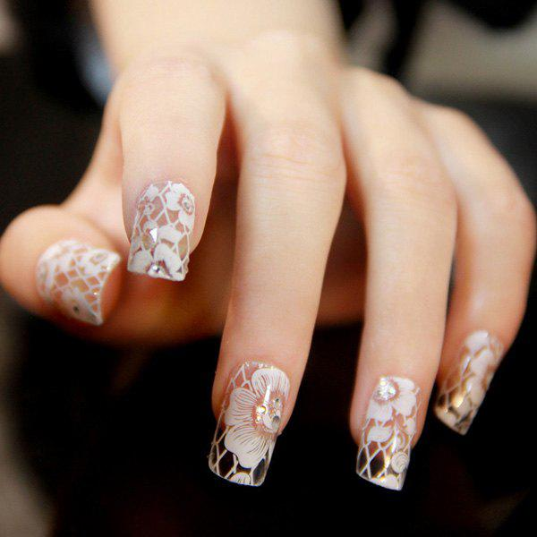 One Sheet Transparent Flower Lace Nail Art Stickers - WHITE