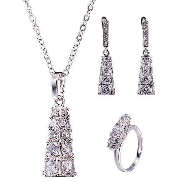 Geoemtric Rhinestone Necklace SetJewelry<br><br><br>Color: SILVER