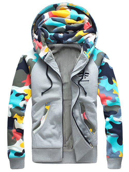 Zip Up Camouflage Splicing Flocking Hoodie - GRAY S