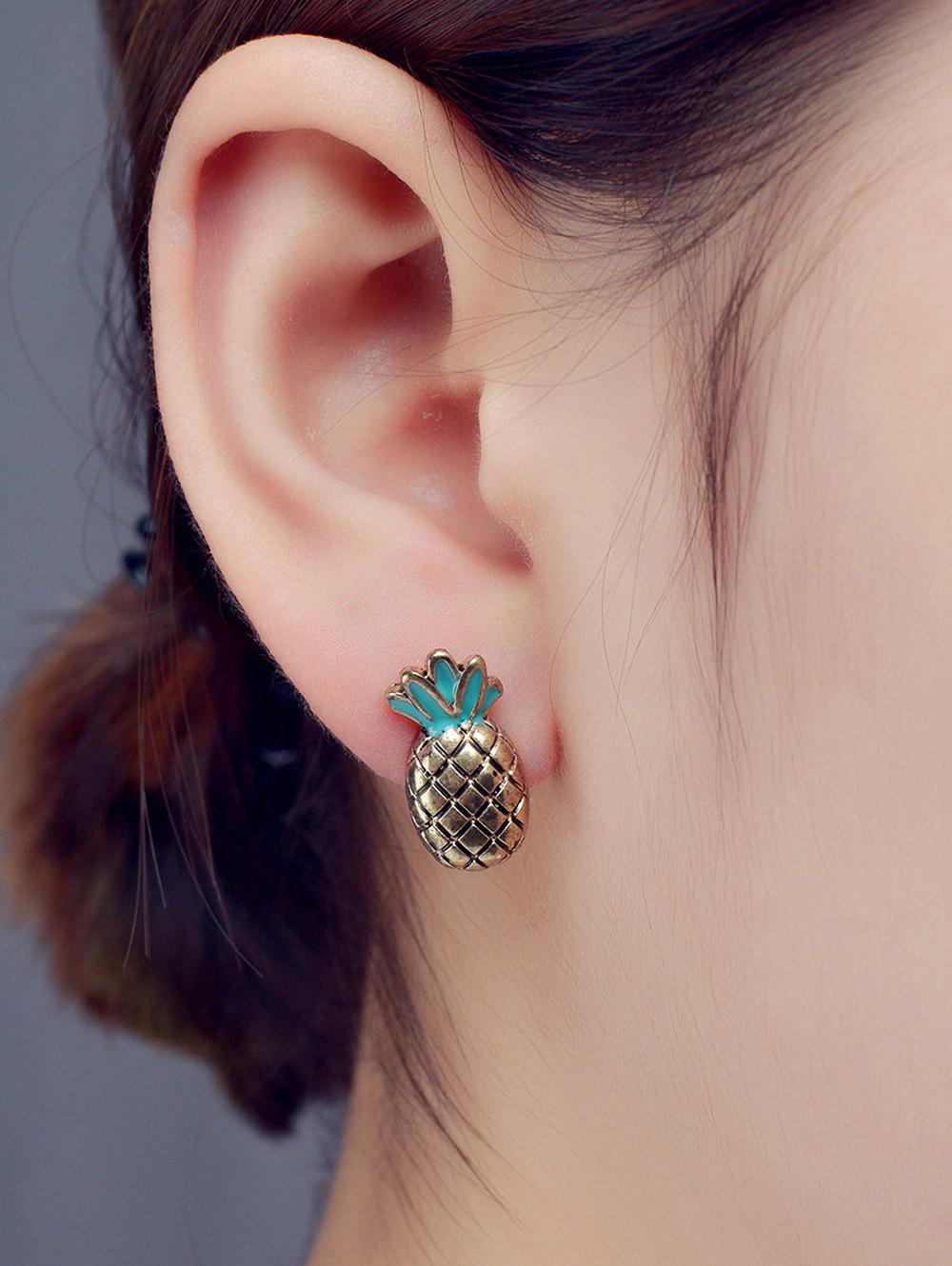 Pineapple Enamel Stud EarringsJewelry<br><br><br>Color: BRONZE-COLORED