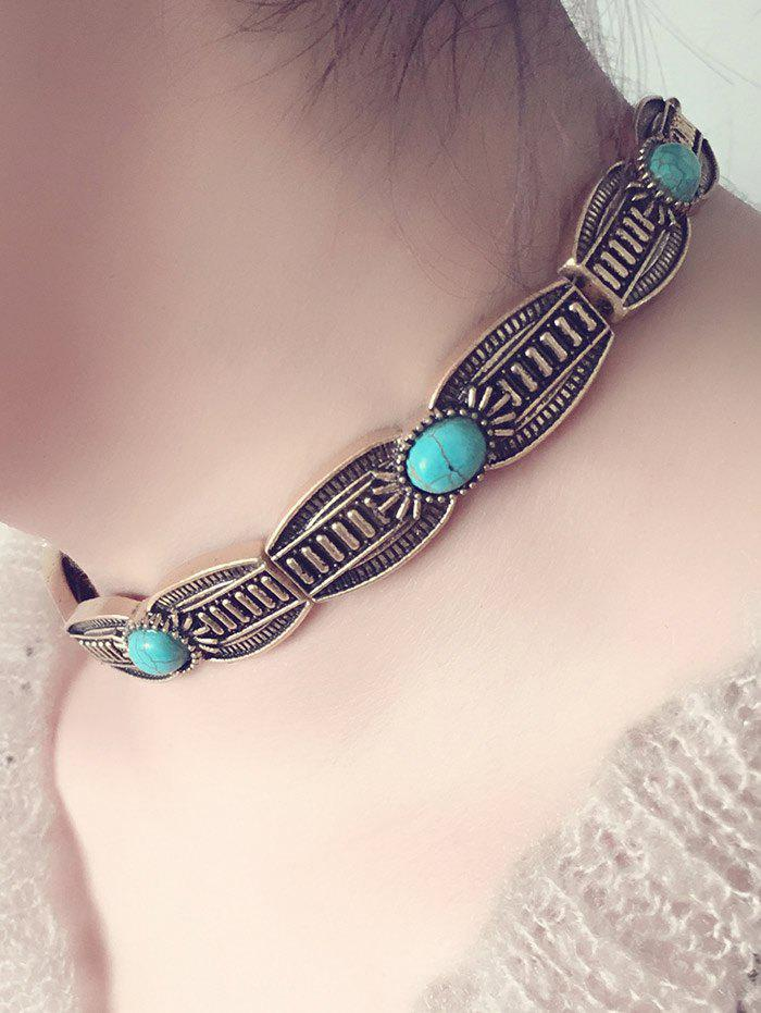 Vintage Alloy Faux Turquoise Choker Necklace - GOLDEN