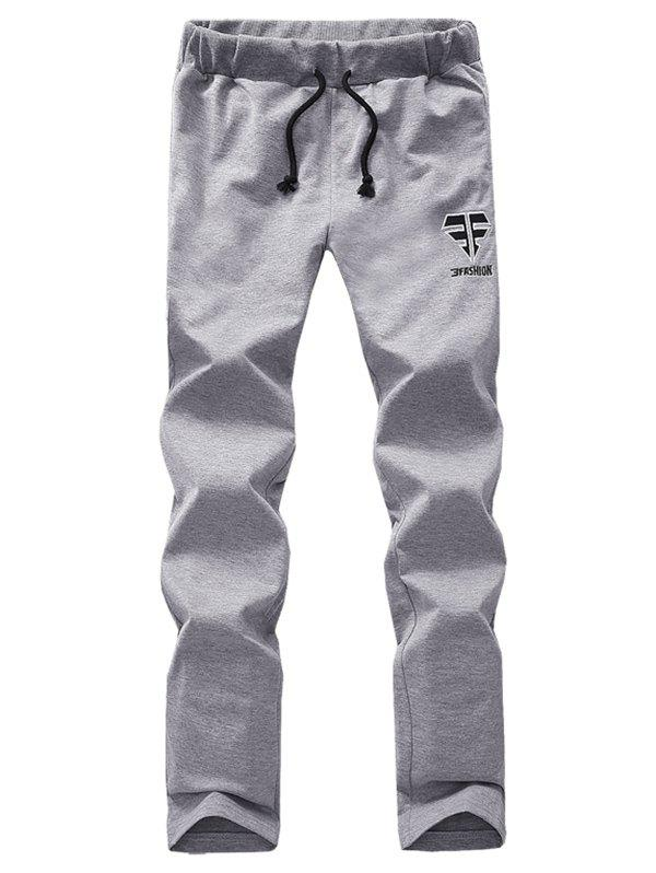 Lace Up Comfortable Embroidered Narrow Feet PantsMen<br><br><br>Size: XL<br>Color: GRAY