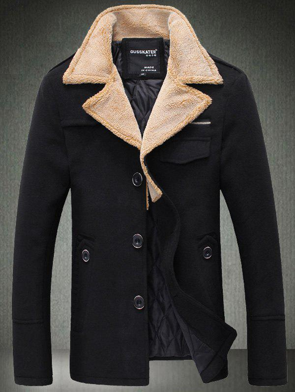 Quilted Lining Epaulet Design Zippered Woolen Jacket - BLACK M