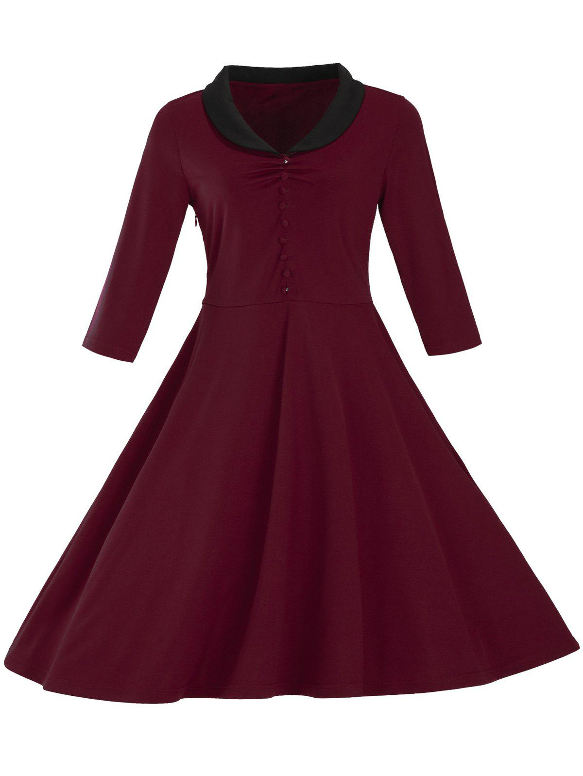 Vintage Button Pin Up Dress - BURGUNDY 3XL
