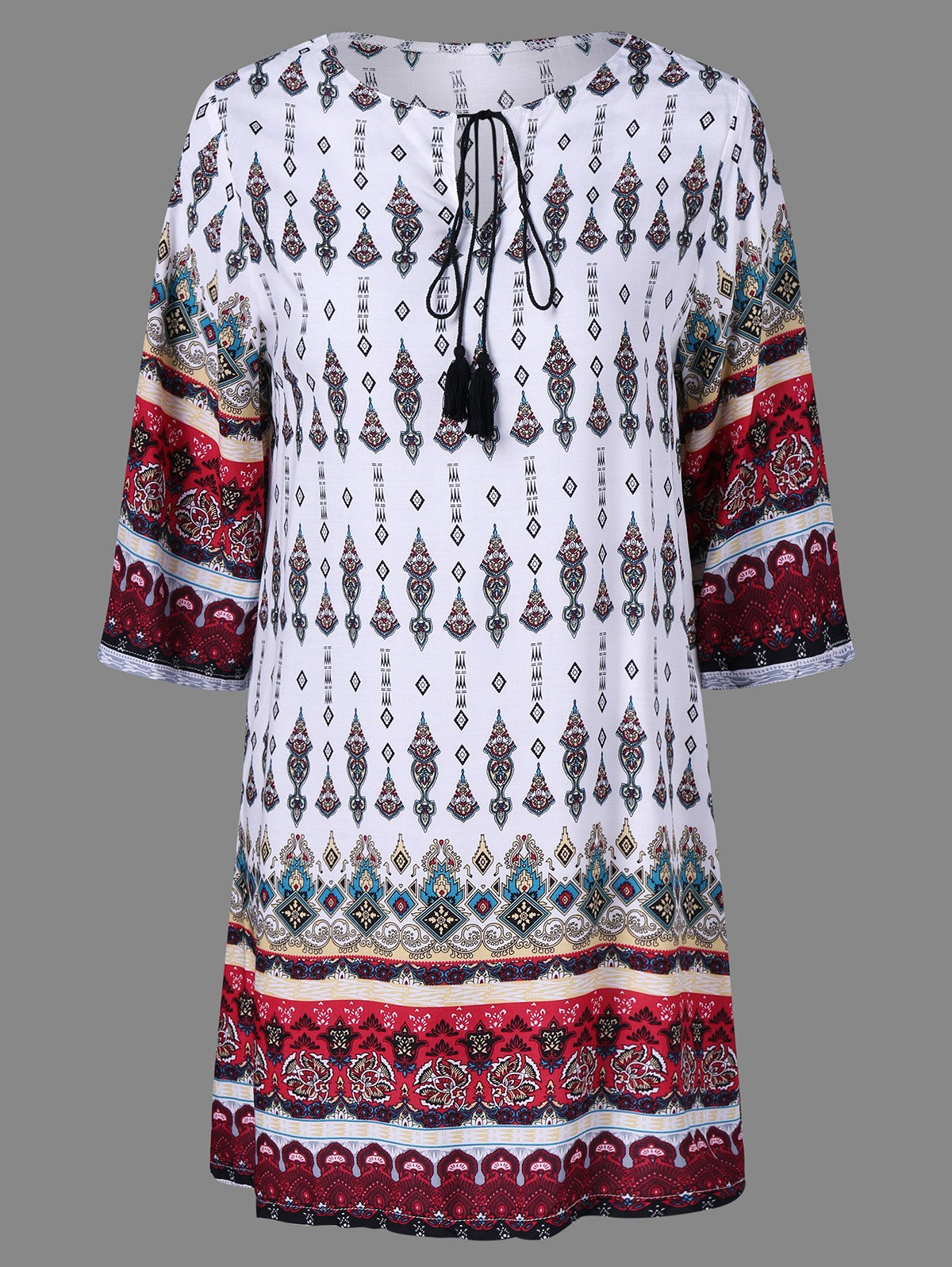 Buy Ethnic Print Peasant Dress COLORMIX