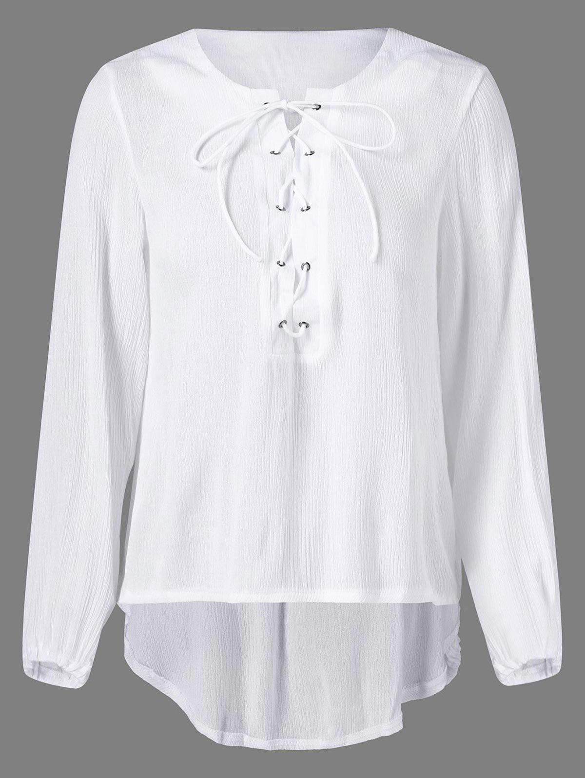 High Low Lace Up Blouse - WHITE M