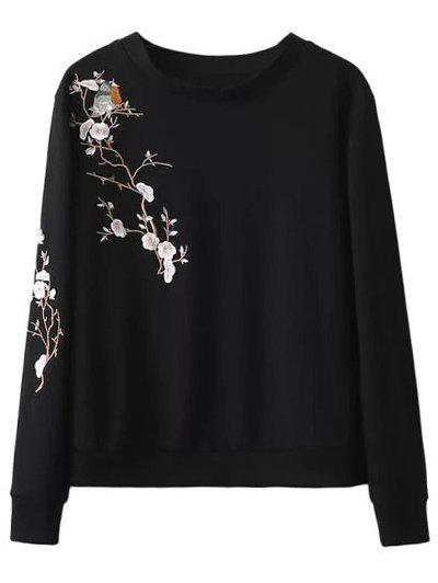 Crew Neck Floral Bird Embroidered Sweatshirt