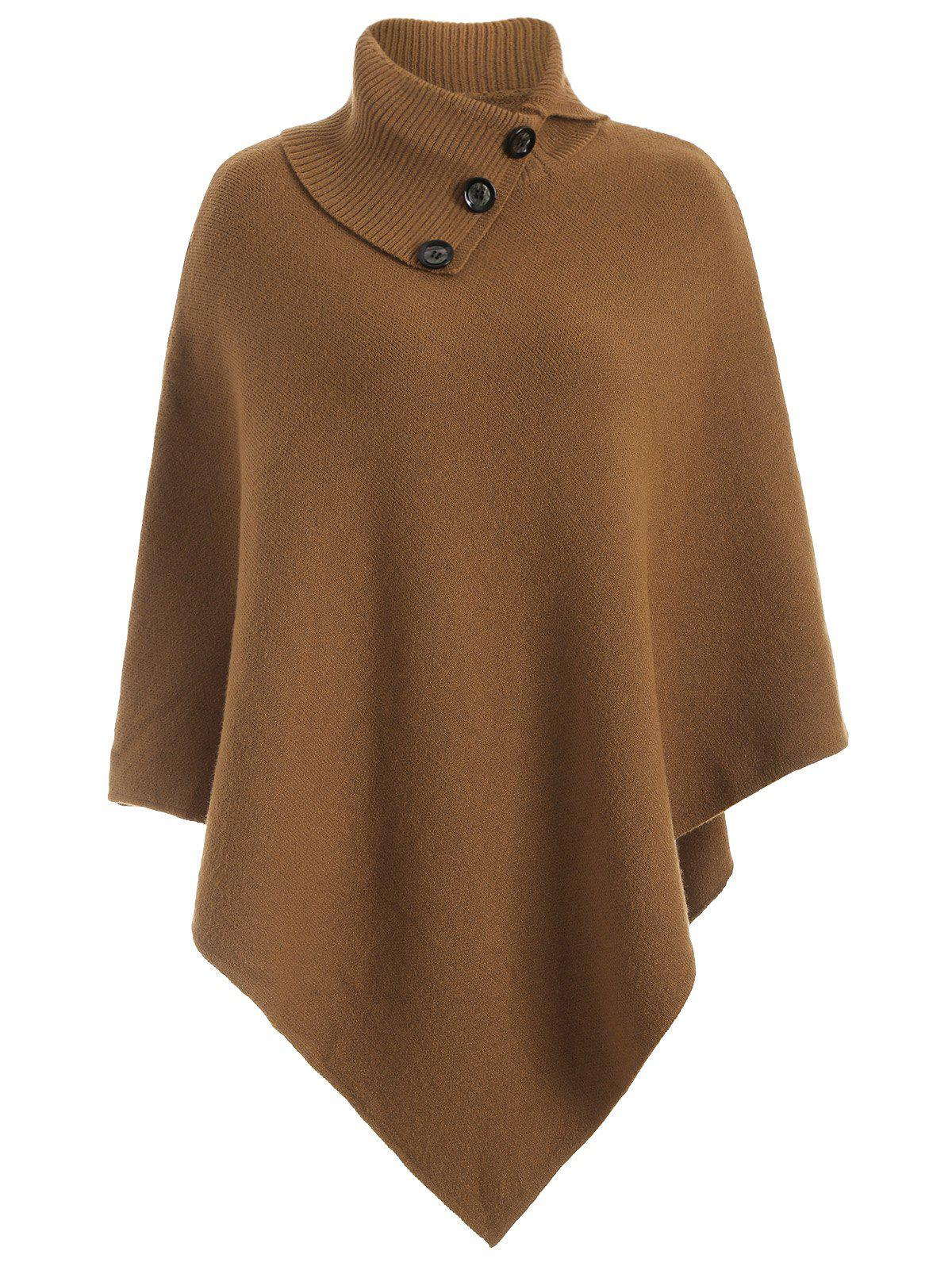 Knitted Convertible Neck Asymmetric Cape - CAMEL ONE SIZE