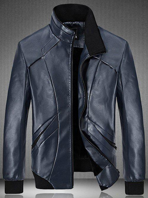 Flocking Spliced Design PU Leather Jacket - CADETBLUE M