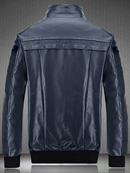 Flocking Spliced Design PU Leather Jacket - CADETBLUE 3XL