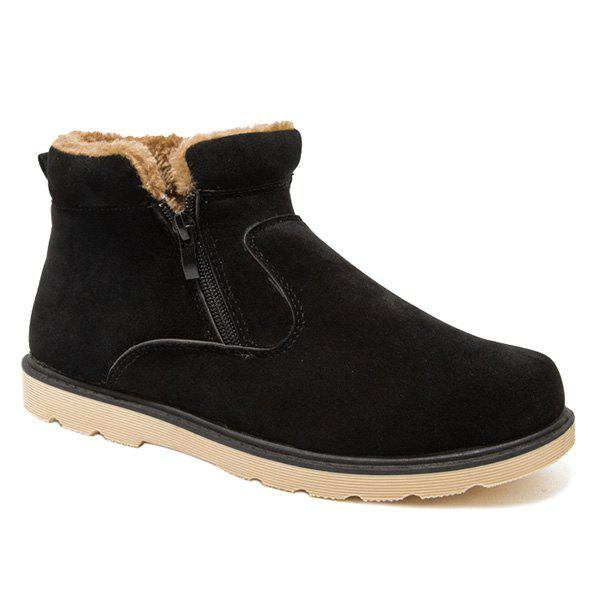 Suede Double Zips Bottines Fuzzy - Noir 44