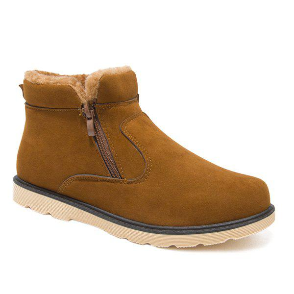 Suede Double Zips Fuzzy Ankle Boots - BROWN 44