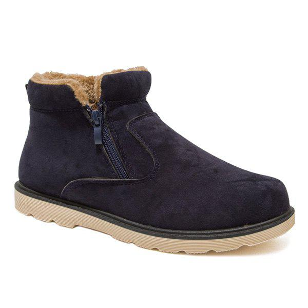 Suede Double Zips Bottines Fuzzy - Bleu 43