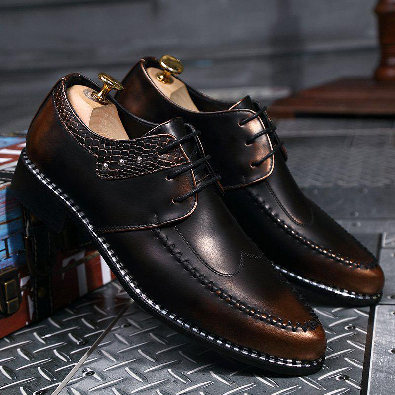 Faux Leather Embossed Panel Formal Shoes - BROWN 43