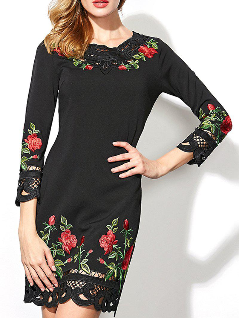 Floral embroidered crochet trim dress black s in bodycon