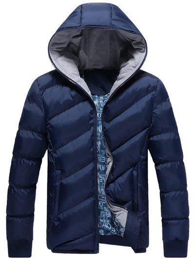 Zip Up Oblique Spliced Design Quilted Jacket - CADETBLUE XL