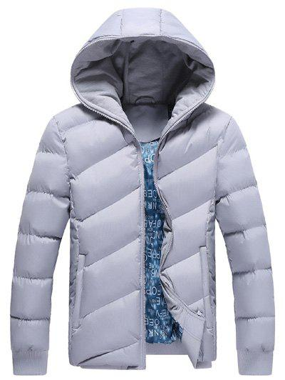 Zip Up Oblique Spliced Design Quilted Jacket - LIGHT GRAY M