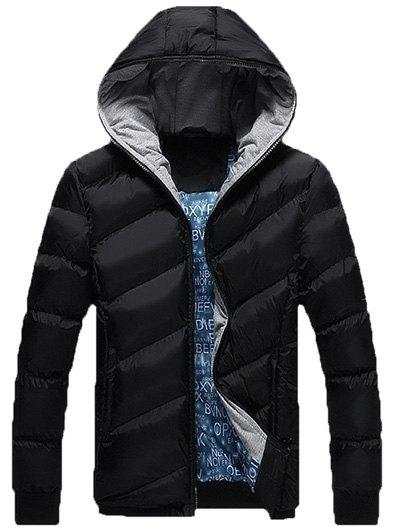 Zip Up Oblique Spliced Design Quilted Jacket - BLACK L