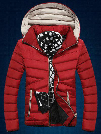 Zip Up Color Block Edging Design Quilted Jacket - RED L
