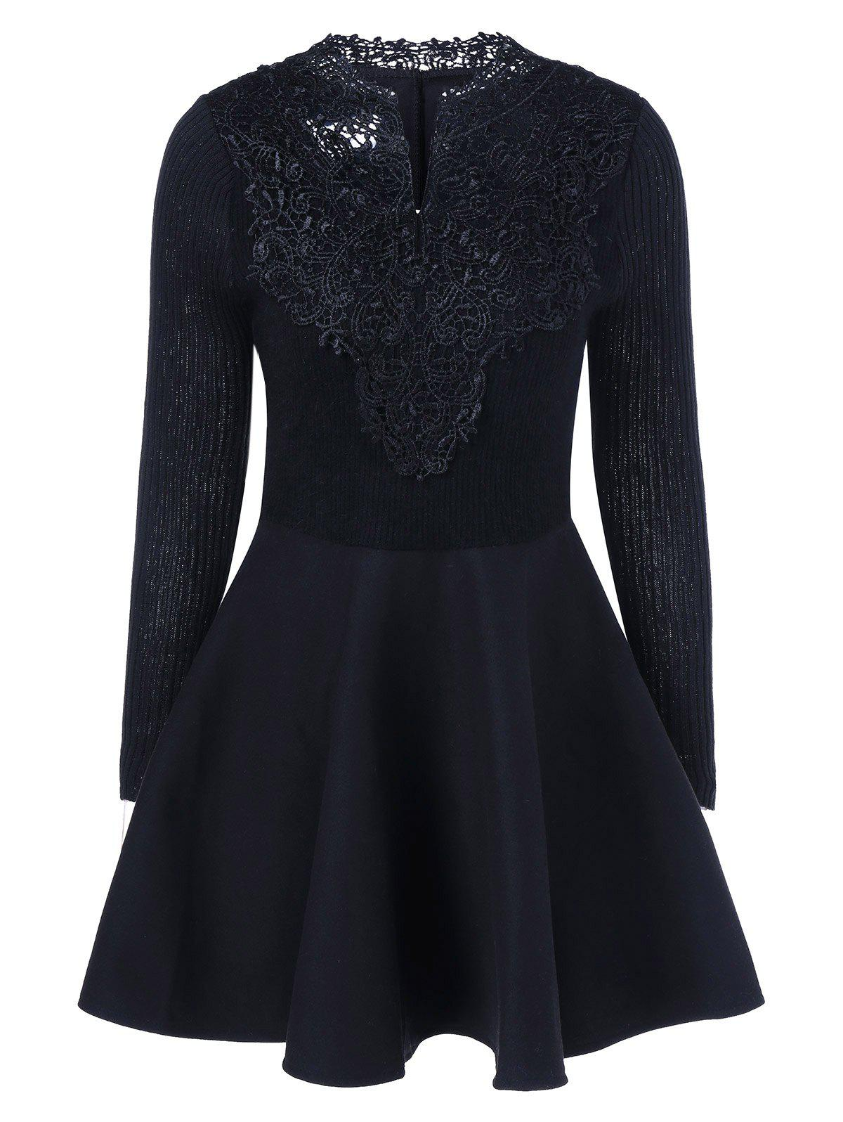 Lace Insert Knit Fit And Flare Dress lace overlay fit and flare dress