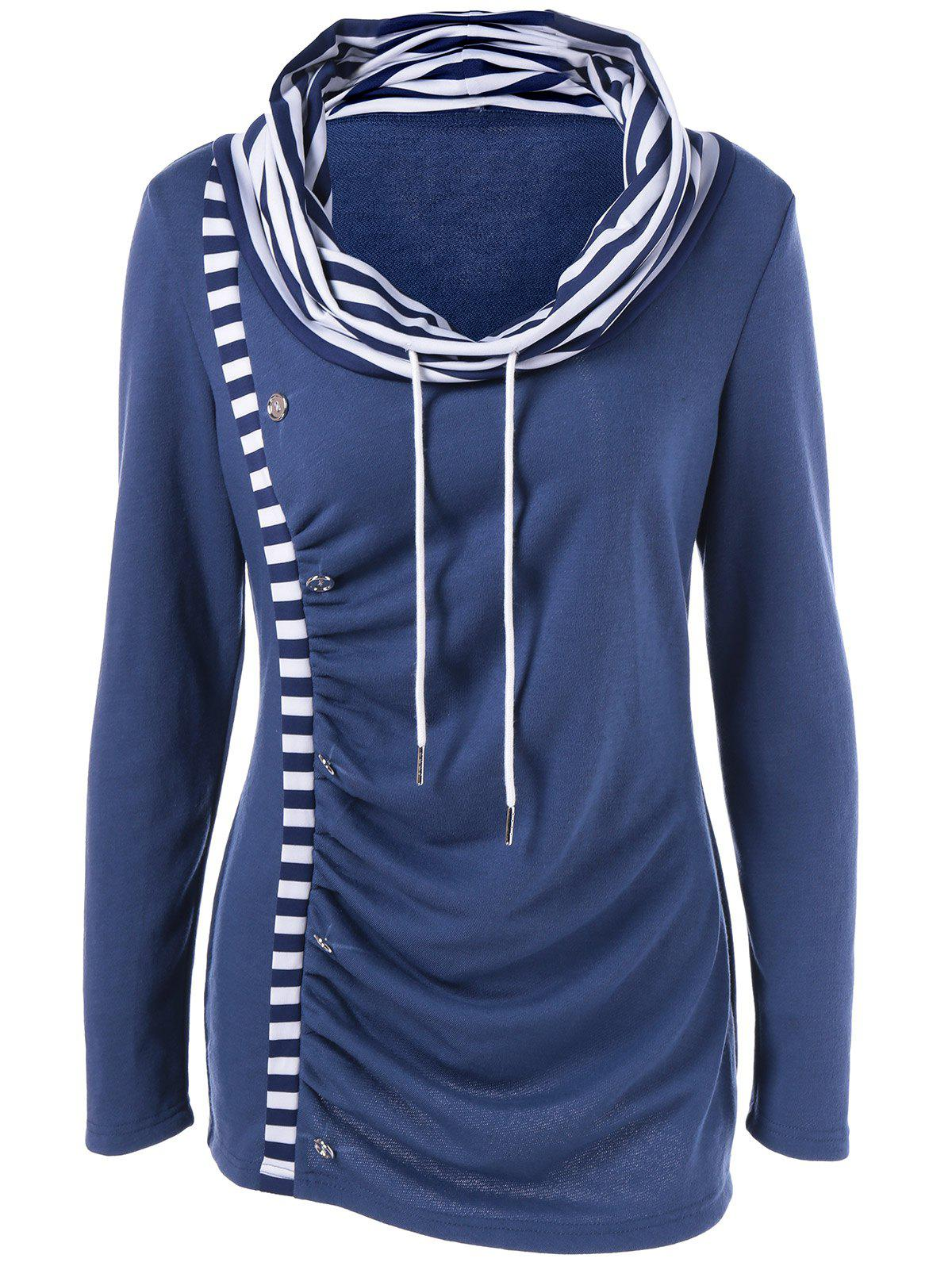 Cowl Neck Striped Trim Ruched T-Shirt cowl neck striped trim tee