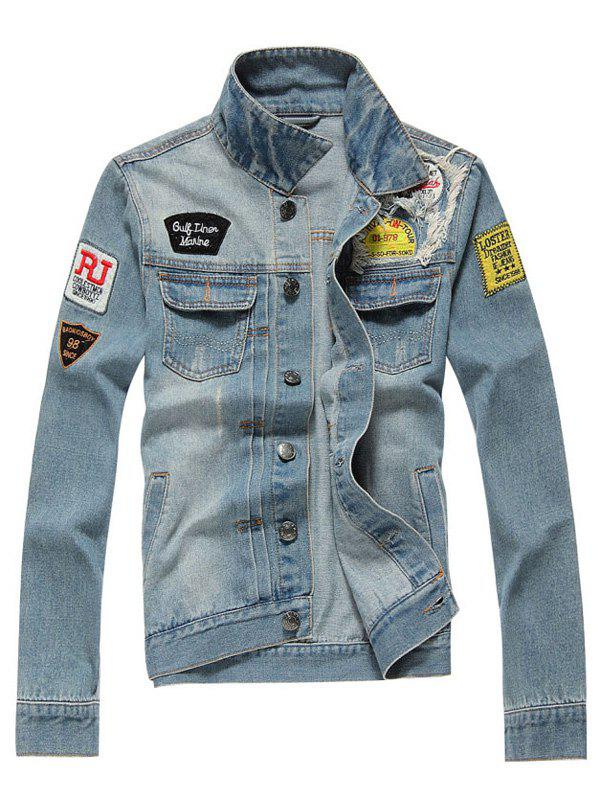 Distressed Turndown Collar Applique Pocket Denim Jacket - LIGHT BLUE 3XL