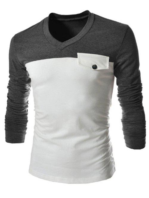Slimming V-Neck Fashion Two Color Splicing Fake Pocket Long Sleeve Polyester Men's T-Shirt - GRAY L