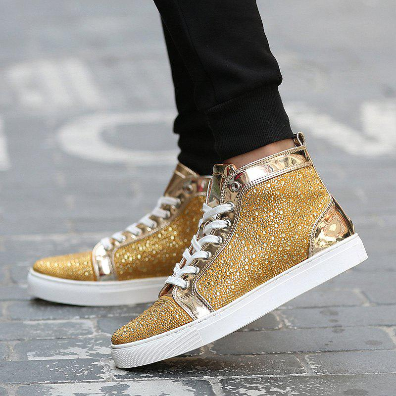Lace Up Rhinestone Short Boots - GOLDEN 42
