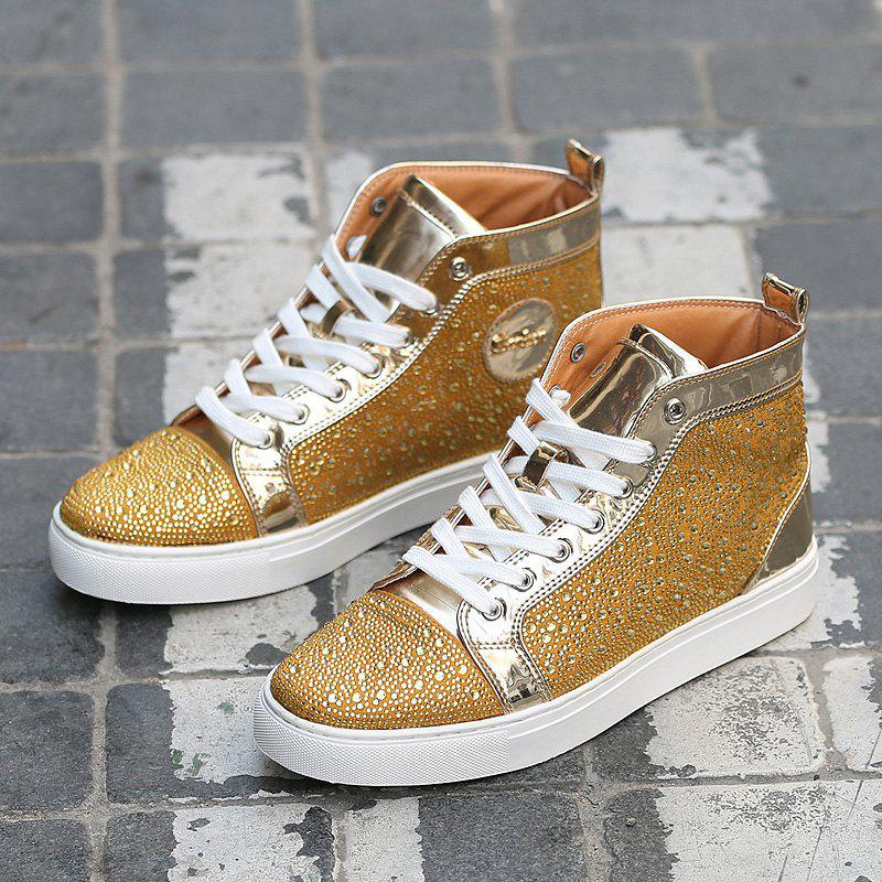 Lace Up Rhinestone Short Boots - GOLDEN 41