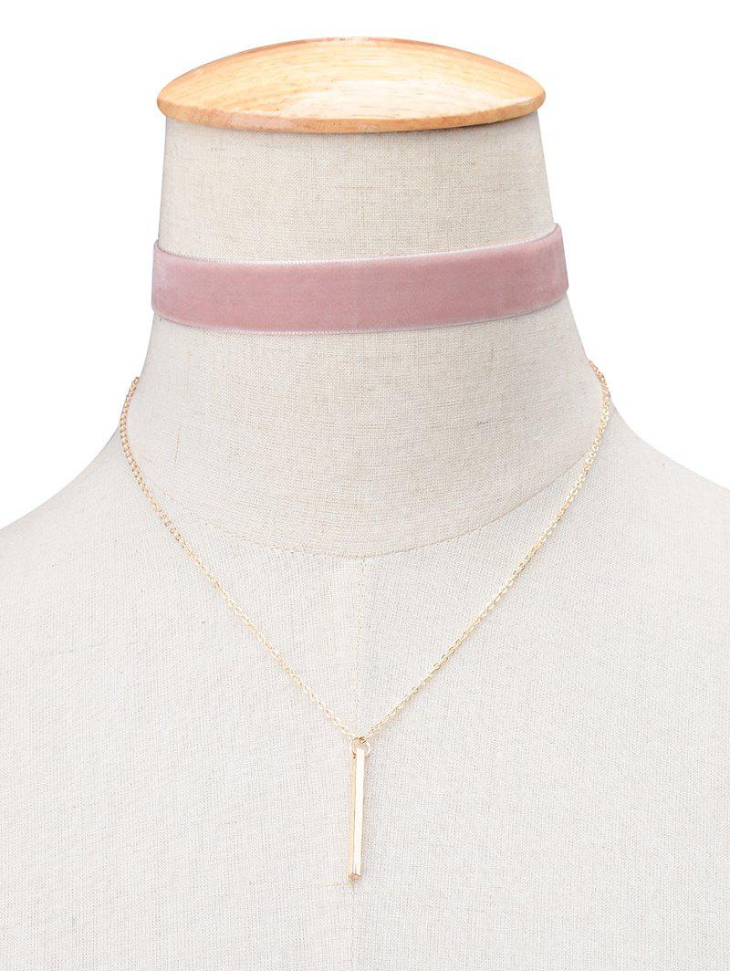 Vintage Velvet Bar Layered Choker Necklace - PINK