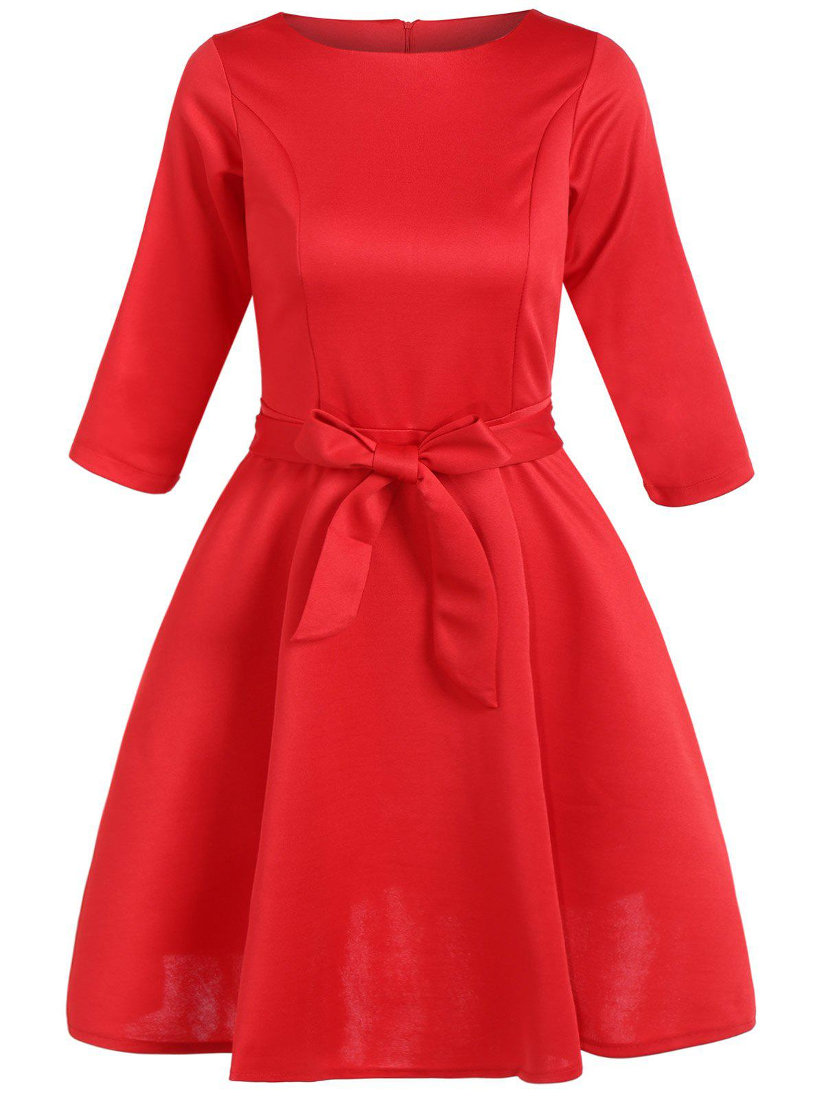 Slim Fit Bowknot Tied Belt Swing Dress - RED L