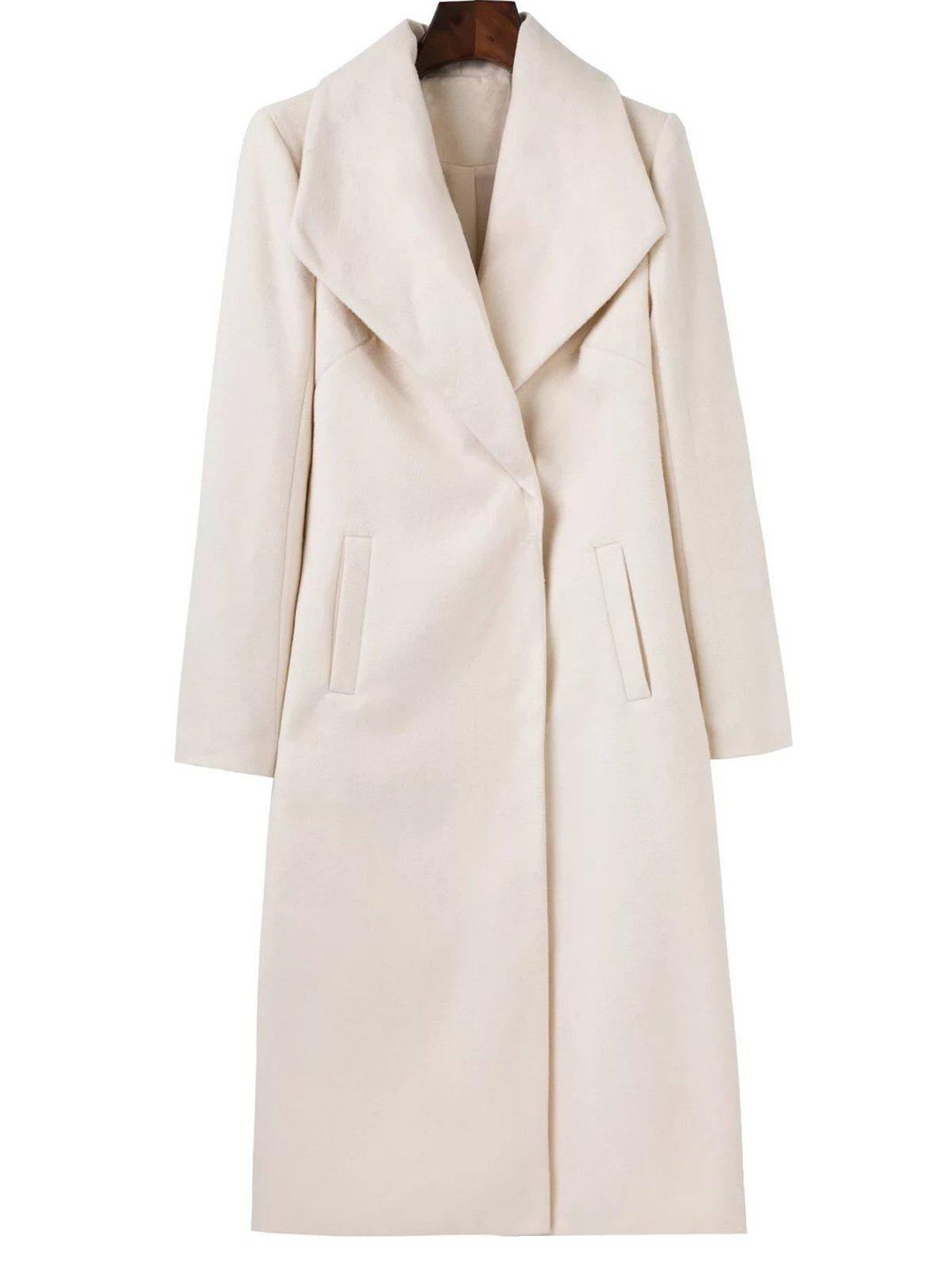 Long Wool Maxi Coat with Lapel - WHITE S