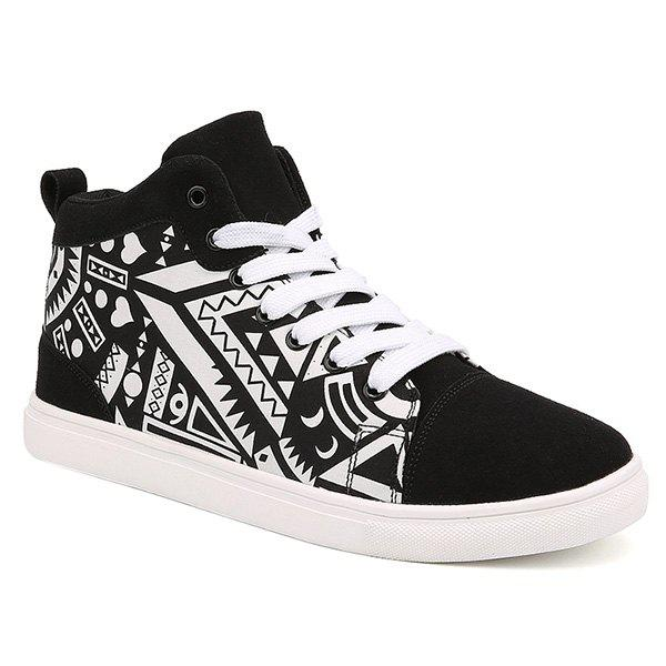 Suede Spliced Geometric Print Lace Up Boots - WHITE/BLACK 44