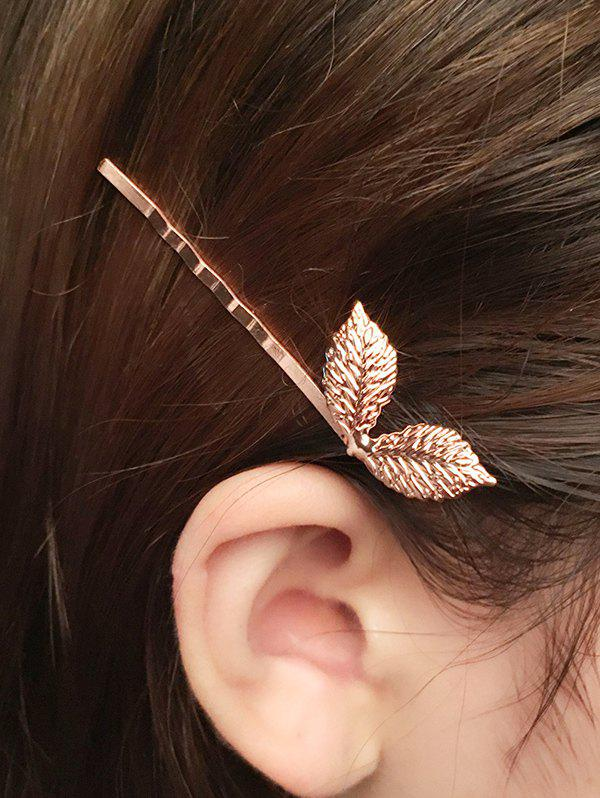 Barrette feuille - Or Rose