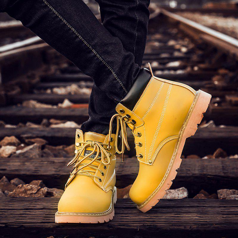 Eyelet Lace Up Stitching Work Boots - YELLOW 43