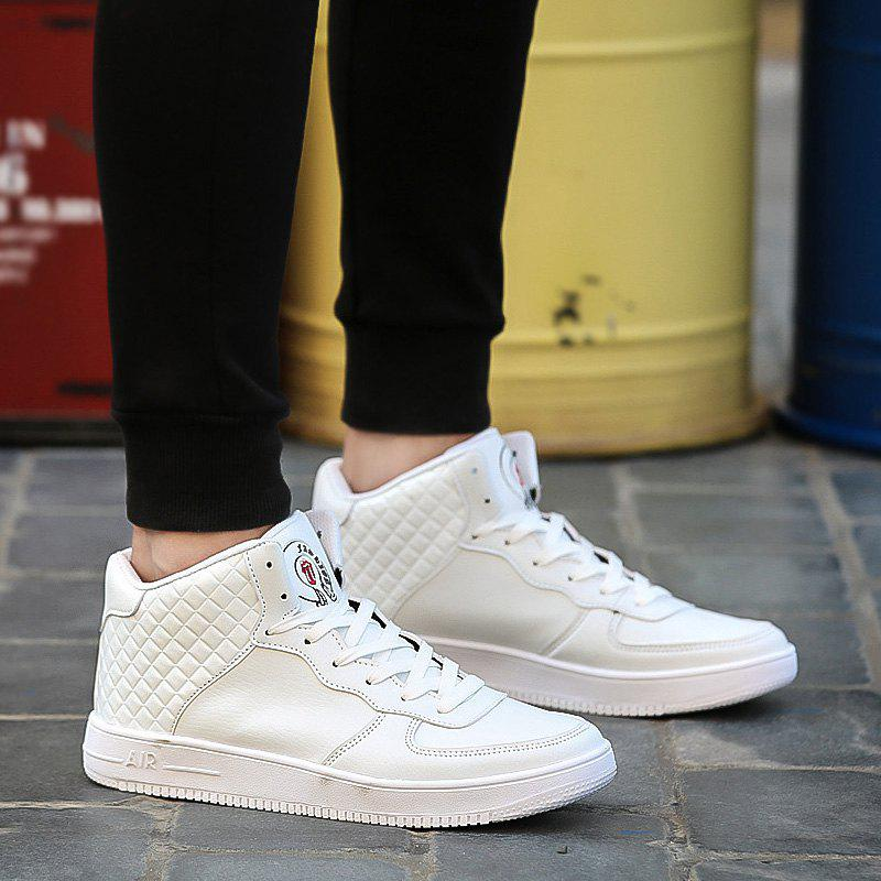 Lace Up Rhombic High Top Skate Shoes - WHITE 41