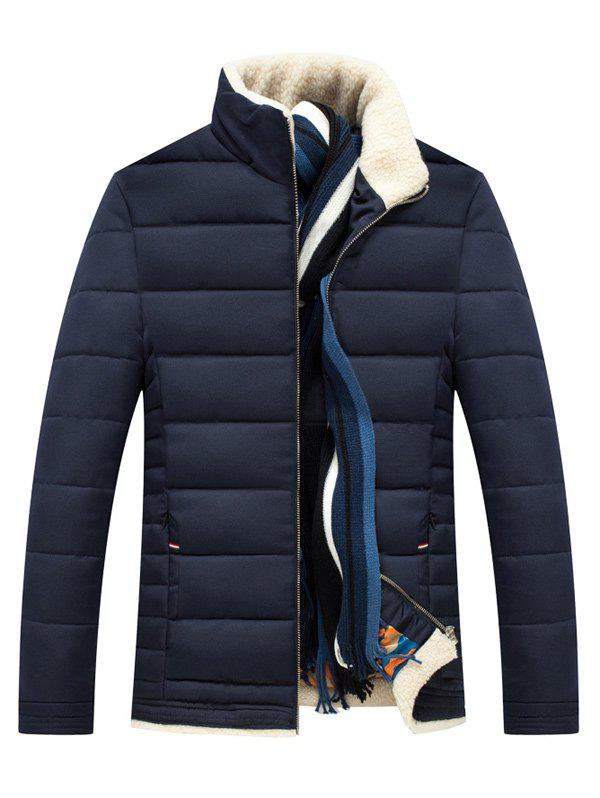 Slim Fit Wool Stand Collar Padded Jacket - CADETBLUE L