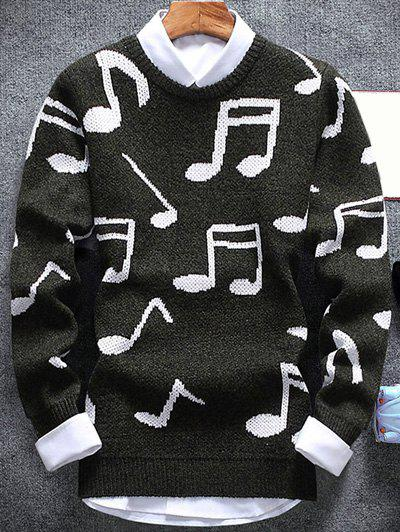Crew Neck Music Note Pattern Sweater - ARMY GREEN XL