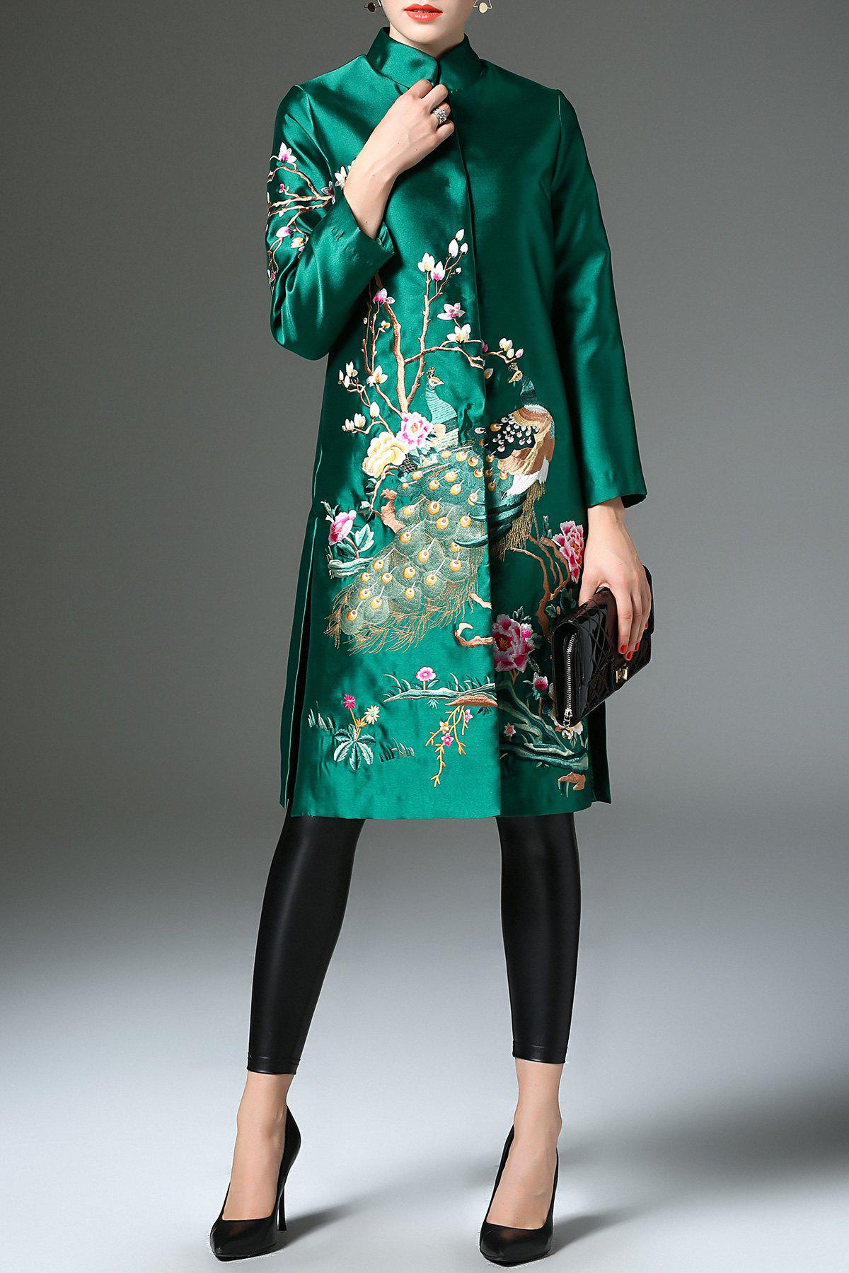 Floral Embroidered Satin Coat - GREEN M