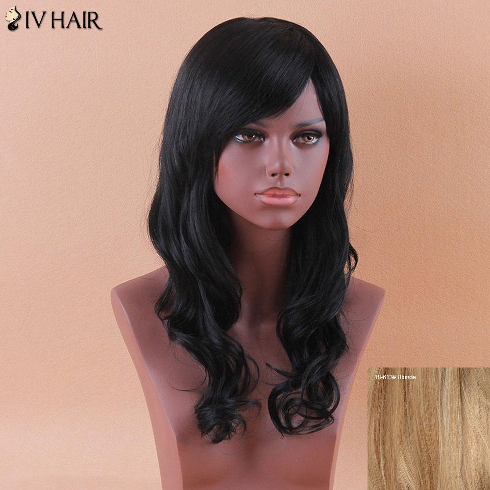 Siv Long Shaggy Oblique Bang Wavy Human Hair Wig - BLONDE