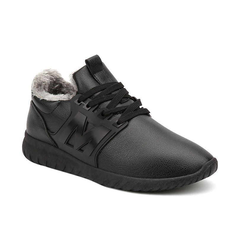 Lace Up Fuzzy Casual Shoes - BLACK 41