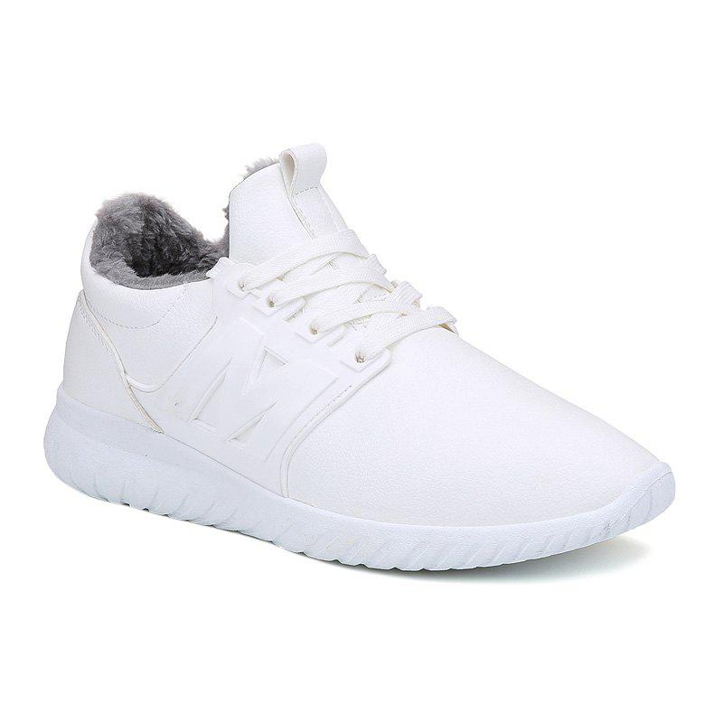 Lace Up Fuzzy Casual Shoes - WHITE 40
