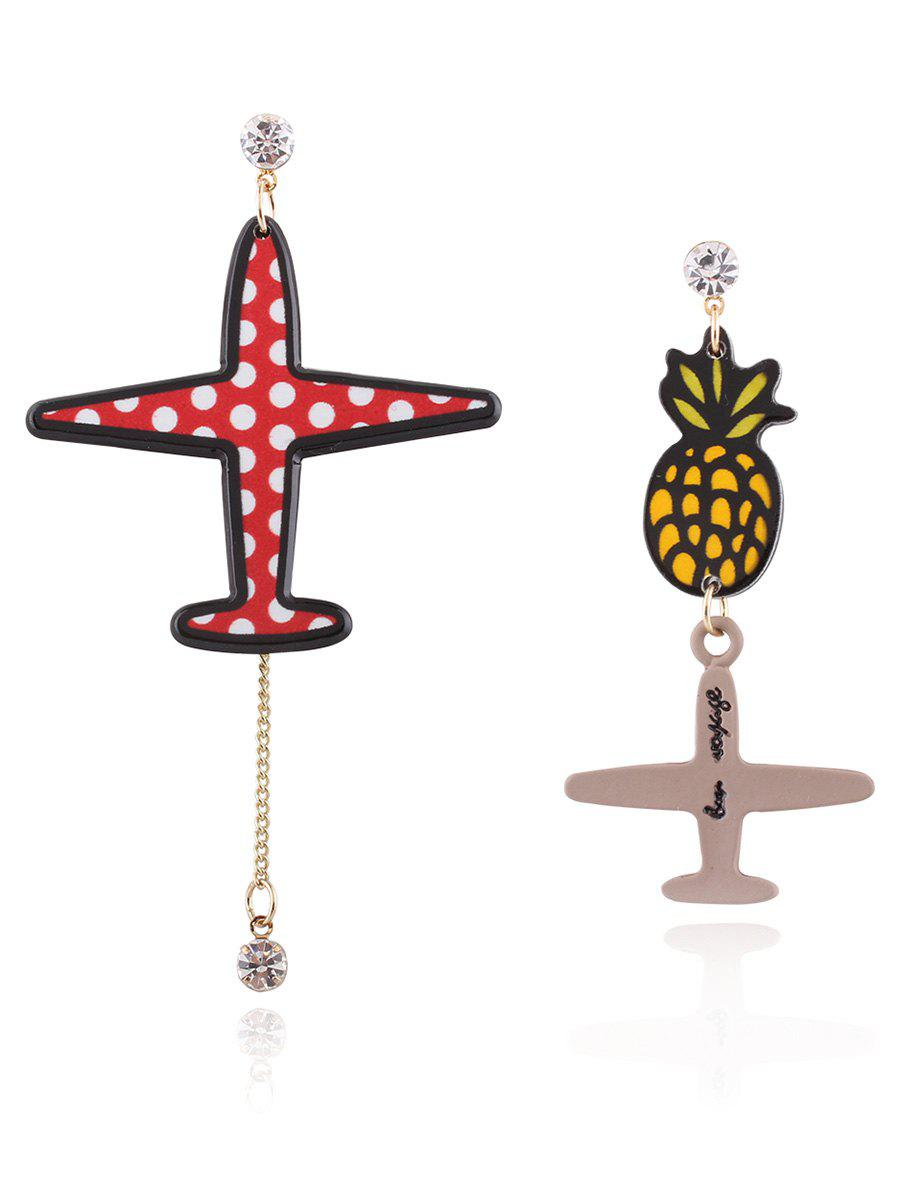 Asymmetric Rhinestone Pineapple Airplane Drop Earrings