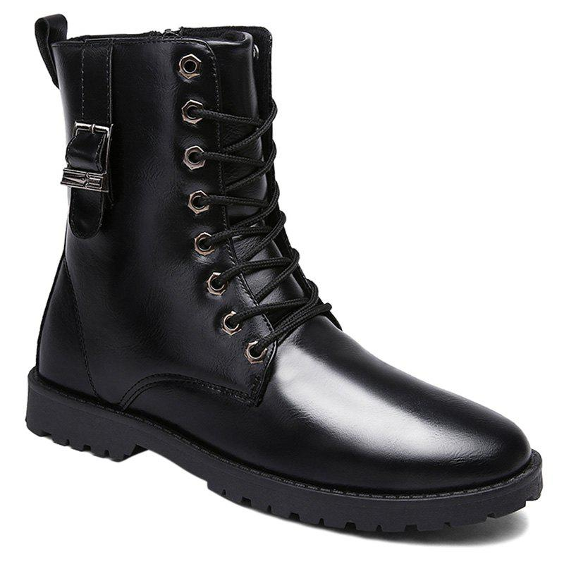 PU Leather Eyelet Buckle Strap Combat Boots - BLACK 40